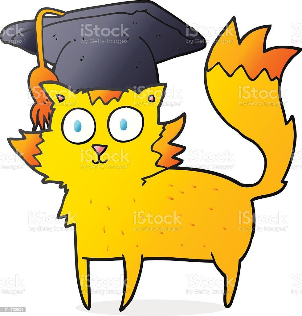 Comic Katze Absolventen Stock Vektor Art Und Mehr Bilder Von Bizarr