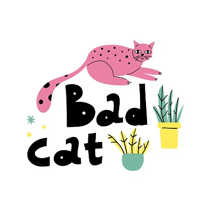 Cartoon cat. Hand drawn funny pet and lettering, pink playful bad kitten, domestic animals, sticker collection. Card, t-shirt or poster design, vector isolated illustration