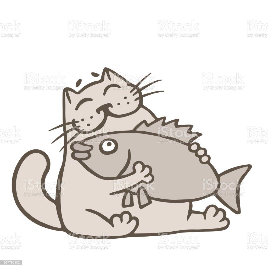 Ilustración de Dibujos Animados Gato Tiene Peces Grandes Comer ...