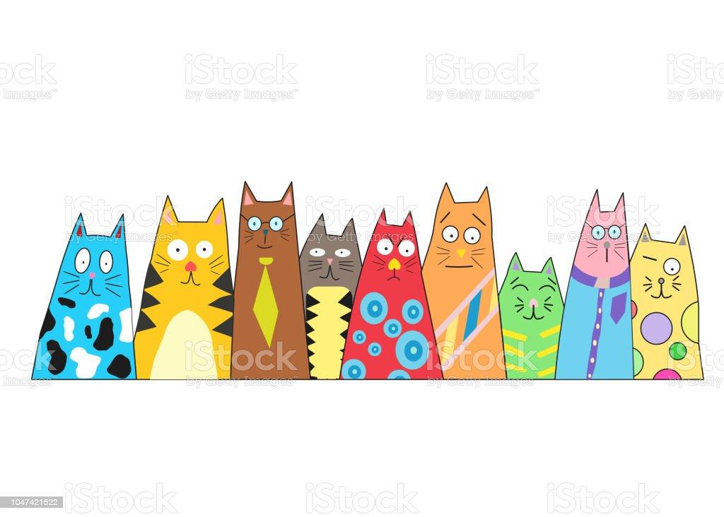 Vetores De Gato De Desenho Isolado Em Um Fundo Branco Gatos