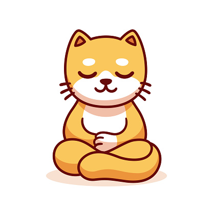 Cartoon cat meditating