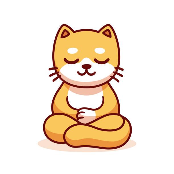 Cartoon cat meditating vector art illustration