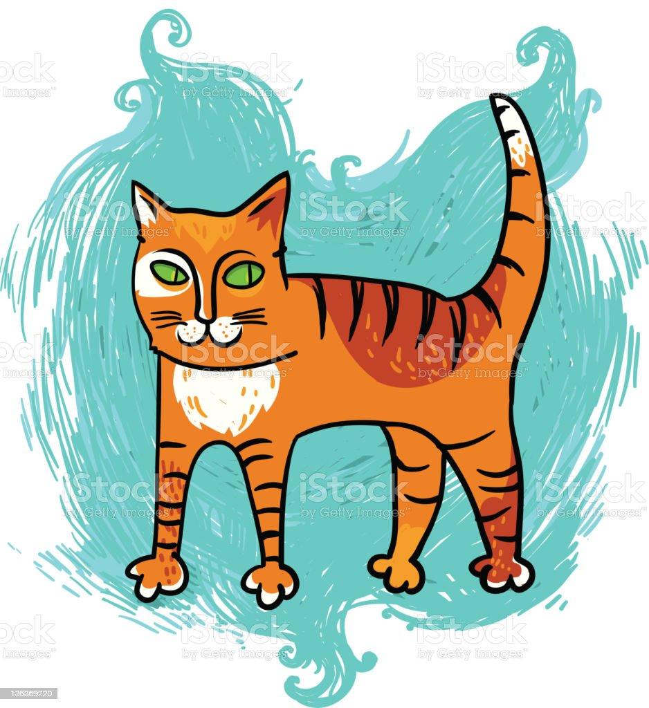 cartoon cat on blue background