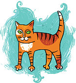 cartoon cat on blue background