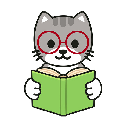 Cartoon cat reading a book