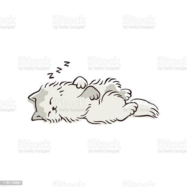 Cartoon Cat Sleeping In Cute Position Stock Illustration Download Image Now Istock