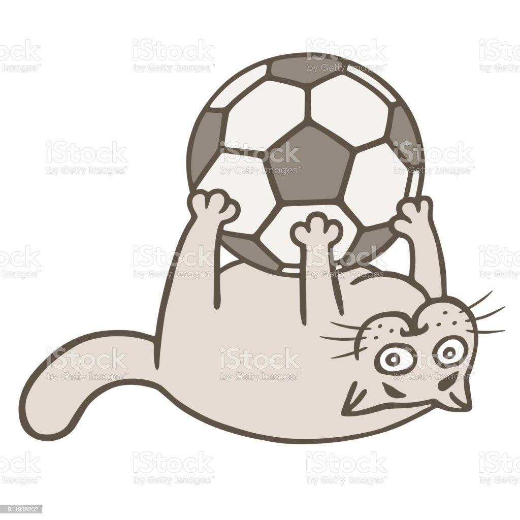 Cartoon cat soccer player caught the ball. Vector illustration vector art illustration