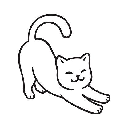 Cartoon cat stretch