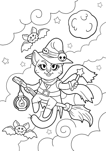 cartoon cat witch, coloring book, funny illustration
