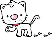 cartoon cat with dirty paws