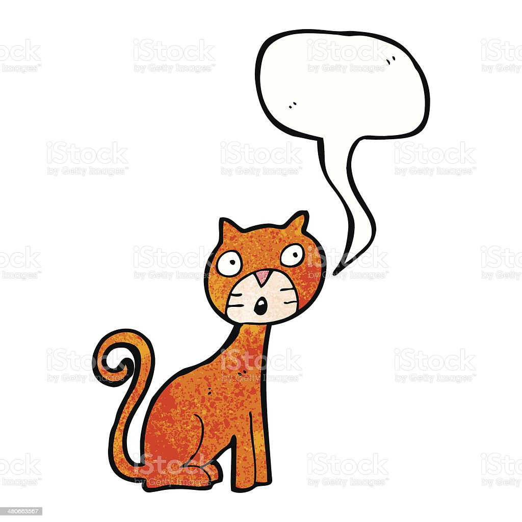 cartoon cat with speech bubble vector art illustration