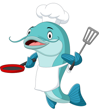 Cartoon catfish chef holding a frying pan and spatula