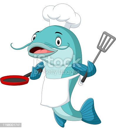 Vector illustration of Cartoon catfish chef holding a frying pan and spatula