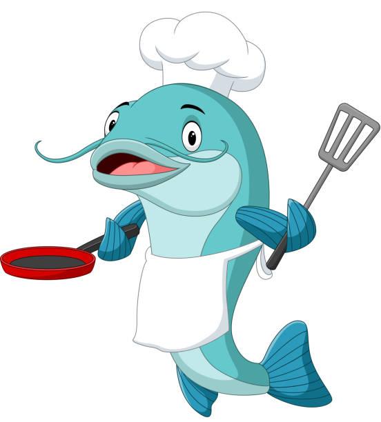 ilustrações, clipart, desenhos animados e ícones de cozinheiro chefe dos bagre súplica dos desenhos animados que prende uma frigideira e um spatula - frito