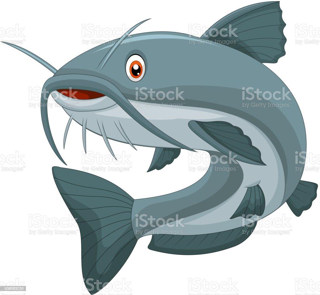 Cartoon catfish vector art illustration