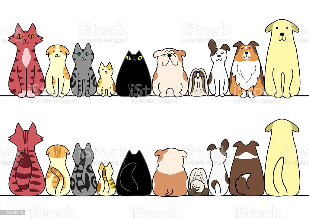 Cartoon cats and dogs sitting in a horizontal line vector art illustration