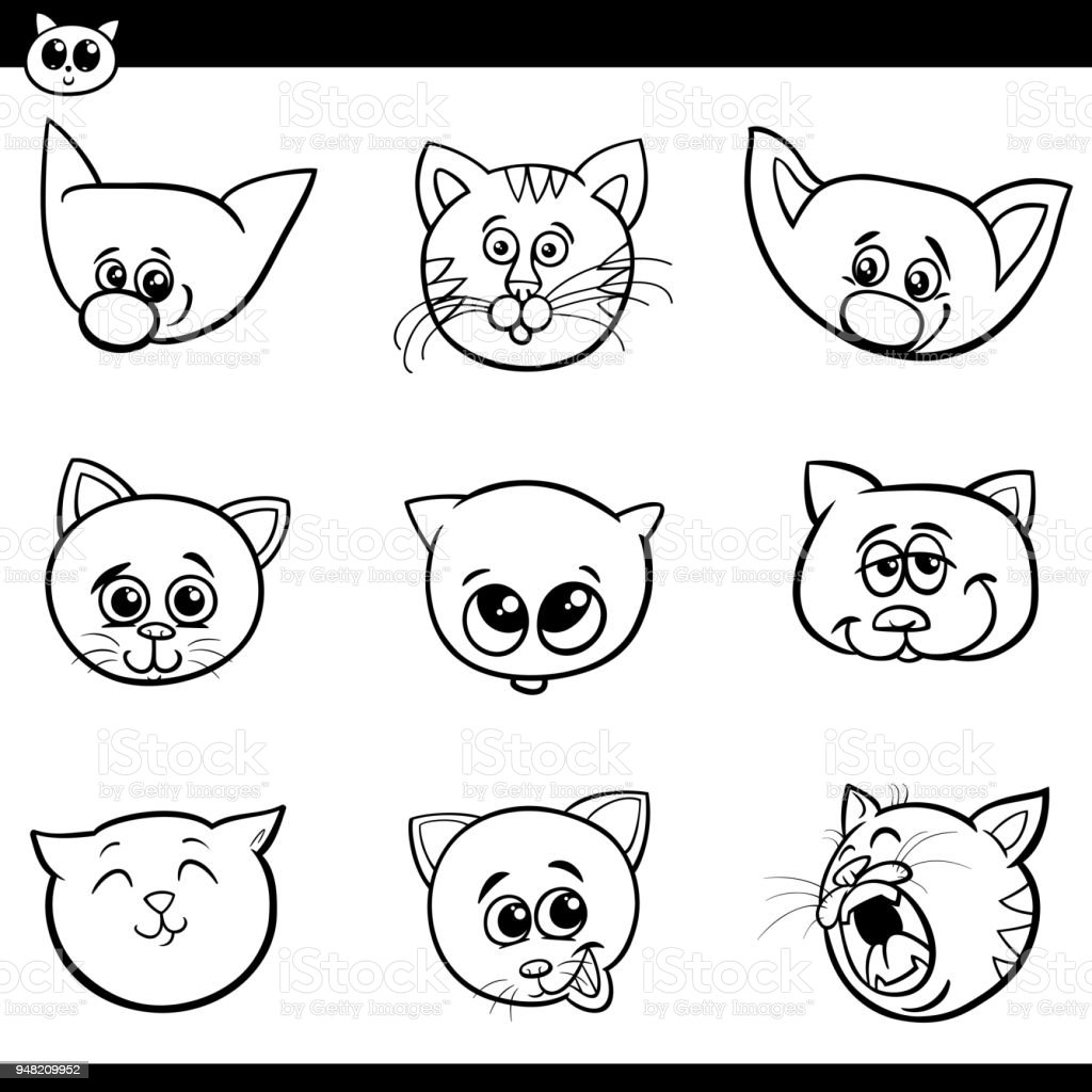 Cizgi Film Cats Ve Yavru Kedi Kafalari Koleksiyonu Stok Vektor