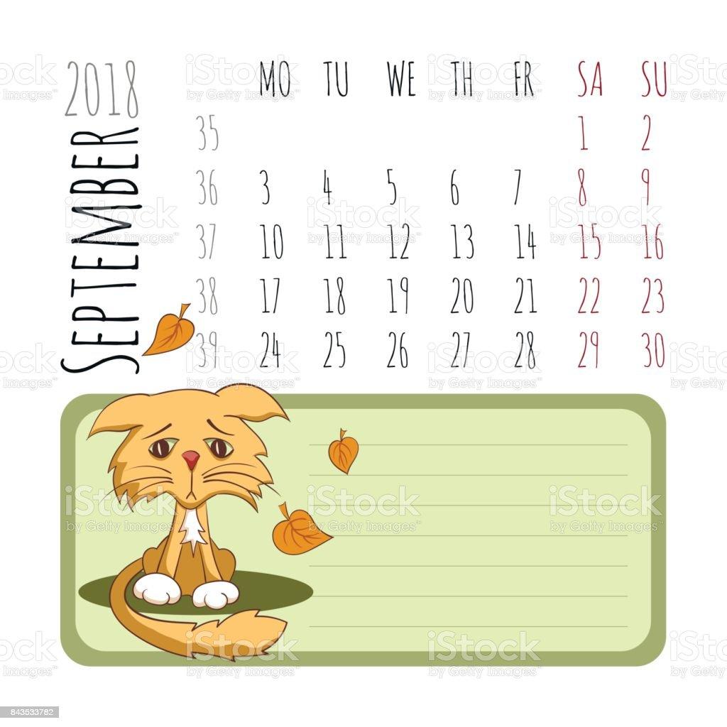 Calendario Dibujo Septiembre.Ilustracion De Calendario De Dibujos Animados De Gatos 2018
