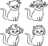 Cartoon cats hairstyles. Isolated vector illustration.