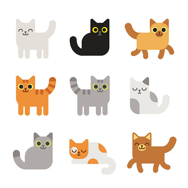 cartoon cats set - cat stock illustrations, clip art, cartoons, & icons