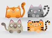 Cute cartoon cats peering over a wall or space for a message. Vector Illustrations.