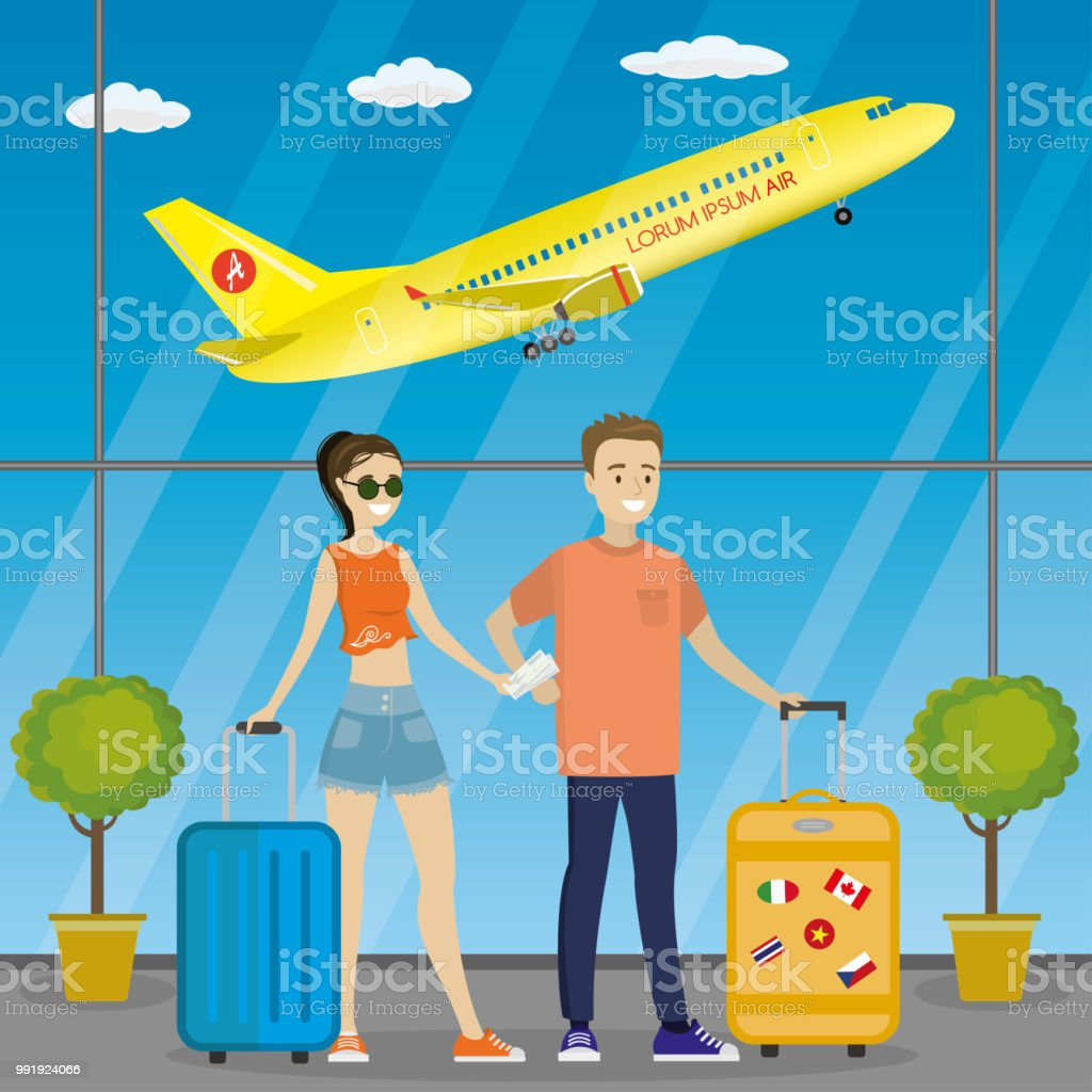 Cartoon Caucasian Couple Of Travelers At The Airport Stock Illustration Download Image Now Istock