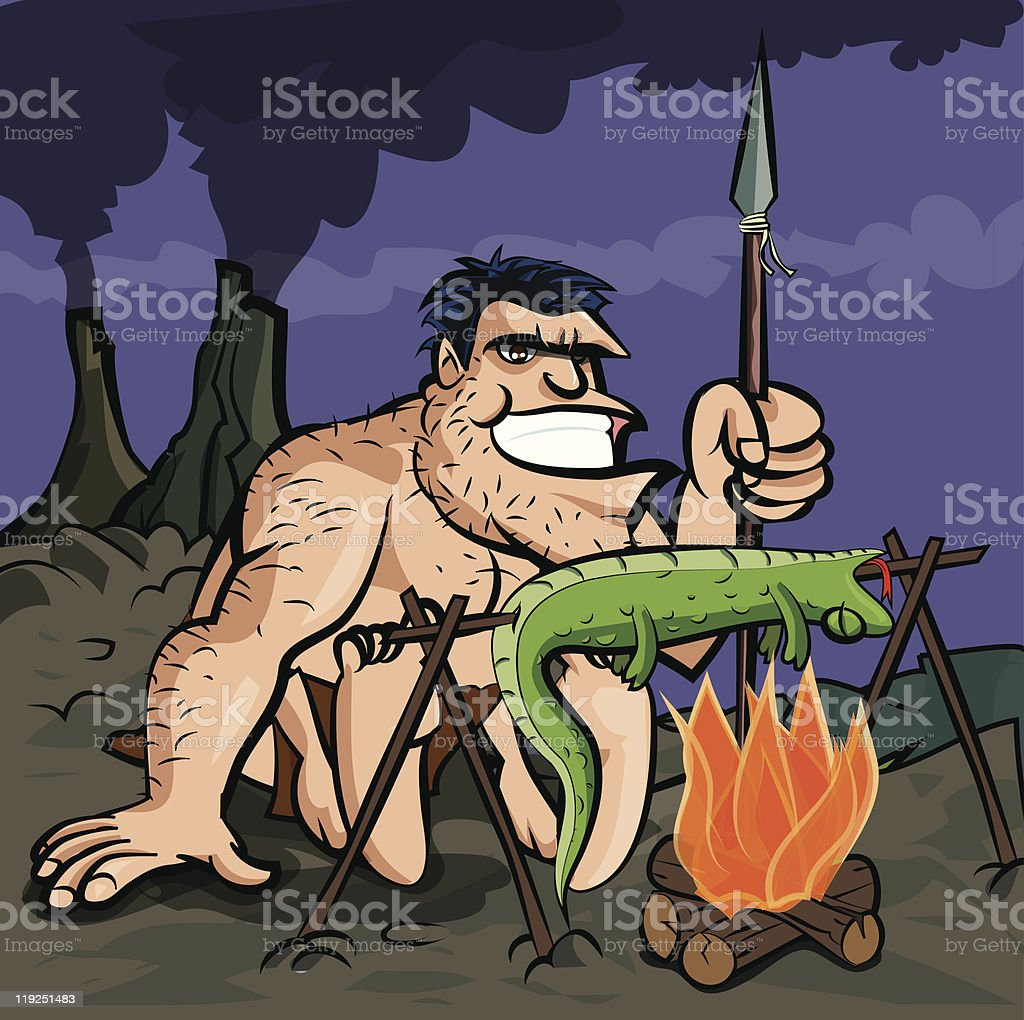 Cartoon caveman BBQ vector art illustration