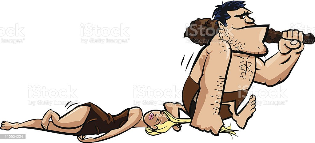 Cartoon Caveman dragging a woman vector art illustration