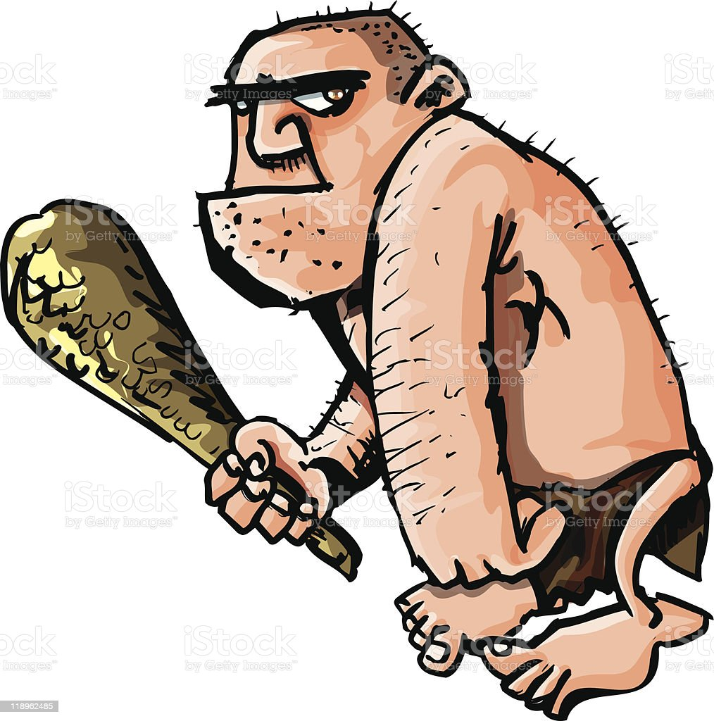 Cartoon caveman wielding a club vector art illustration