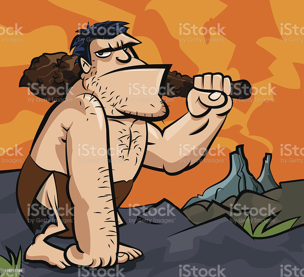 Cartoon caveman with a club vector art illustration