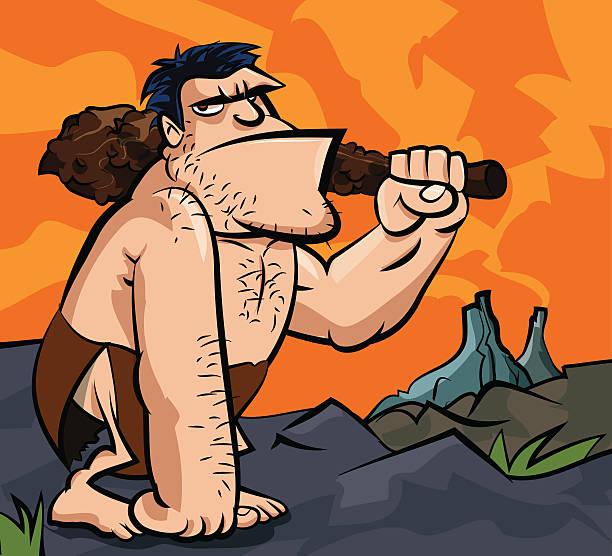 caveman de historieta con un club - ilustración de arte vectorial