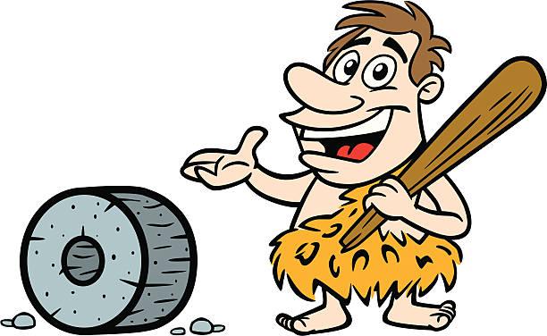 Cartoon Caveman With Wheel vector art illustration