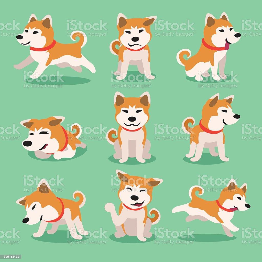 akita inu kreskówka, pies stanowią – artystyczna grafika wektorowa