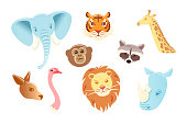 Cartoon character animals mask set Isolated on white background. Funny zoo head. Vector illustration face object. Flat collection Rhinoceros kangaroo Ostrich tiger lion elephant monkey giraffe raccoon