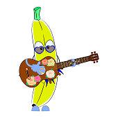 istock Cartoon character banana with a ukulele. Vector illustration. 1341878273