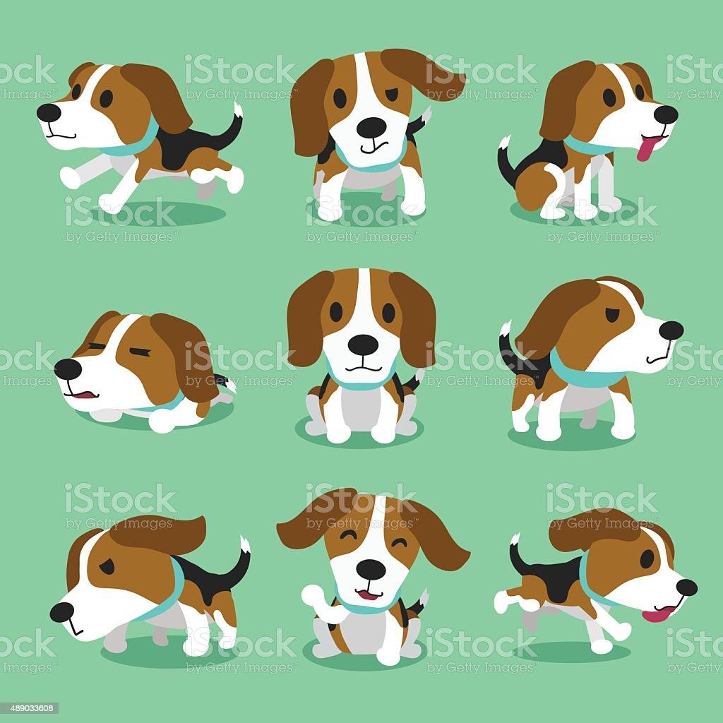 Personaje de historieta de perro beagle plantea - ilustración de arte vectorial