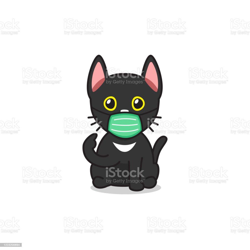 Cartoon Character Black Cat Wearing Protective Face Mask Stock