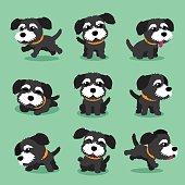 Cartoon character black norfolk terrier dog poses