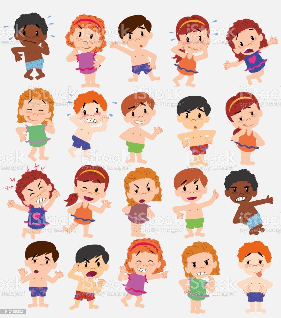 Dessin anim personnage gar ons et filles en maillot de bain sertie de diff rentes postures des - Dessin de maillot de bain ...