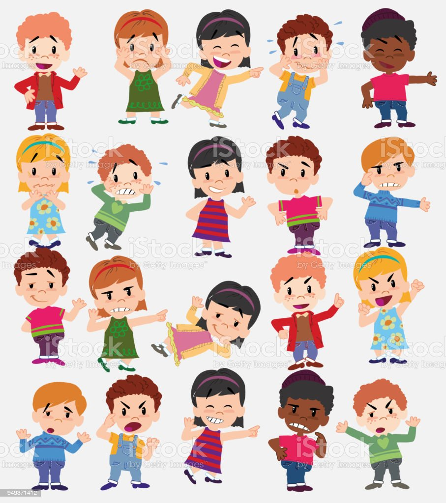 38e5588d1 Cartoon character boys and girls. Set with different postures, attitudes  and poses, doing different activities. Vector illustrations. - Illustration  .