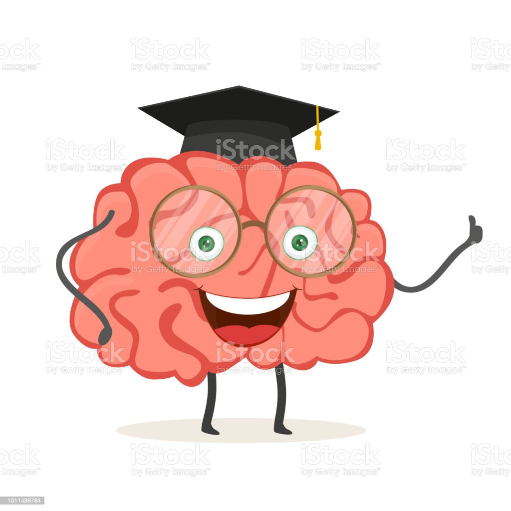 Cartoon Character Brain With Glasses And Academic Hat Vector