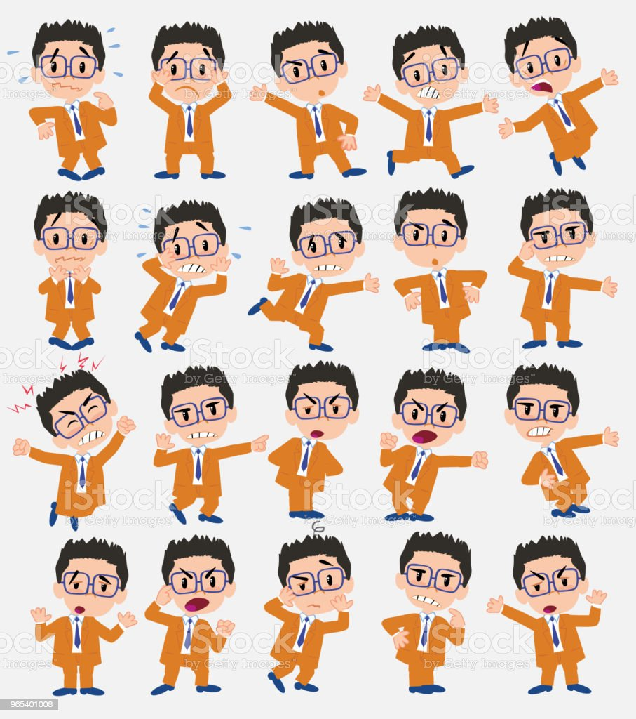 Cartoon character businessman with glasses. Set with different postures, attitudes and poses, always in negative attitude, doing different activities in vector vector illustrations. cartoon character businessman with glasses set with different postures attitudes and poses always in negative attitude doing different activities in vector vector illustrations - stockowe grafiki wektorowe i więcej obrazów bank royalty-free