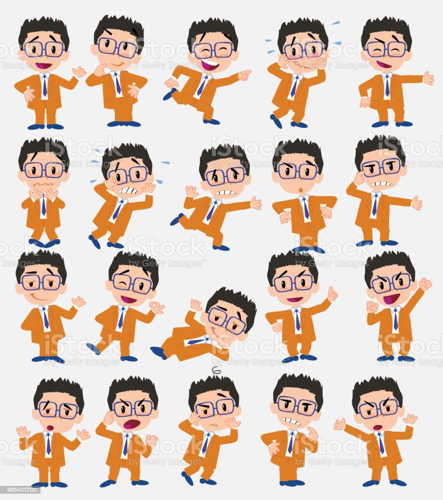 Cartoon character businessman with glasses. Set with different postures, attitudes and poses, doing different activities in isolated vector illustrations. cartoon character businessman with glasses set with different postures attitudes and poses doing different activities in isolated vector illustrations - stockowe grafiki wektorowe i więcej obrazów bank royalty-free