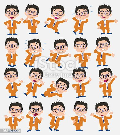Cartoon Character Businessman With Glasses Set With Different Postures Attitudes And Poses Doing Different Activities In Isolated Vector Illustrations - Stockowe grafiki wektorowe i więcej obrazów Bank 965401200