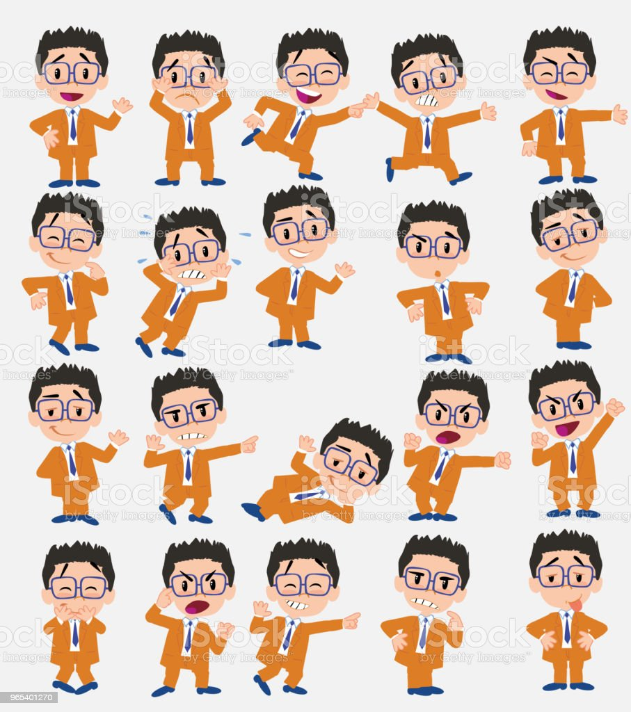 Cartoon character businessman with glasses. Set with different postures, attitudes and poses, doing different activities in isolated vector illustrations. royalty-free cartoon character businessman with glasses set with different postures attitudes and poses doing different activities in isolated vector illustrations stock vector art & more images of adult