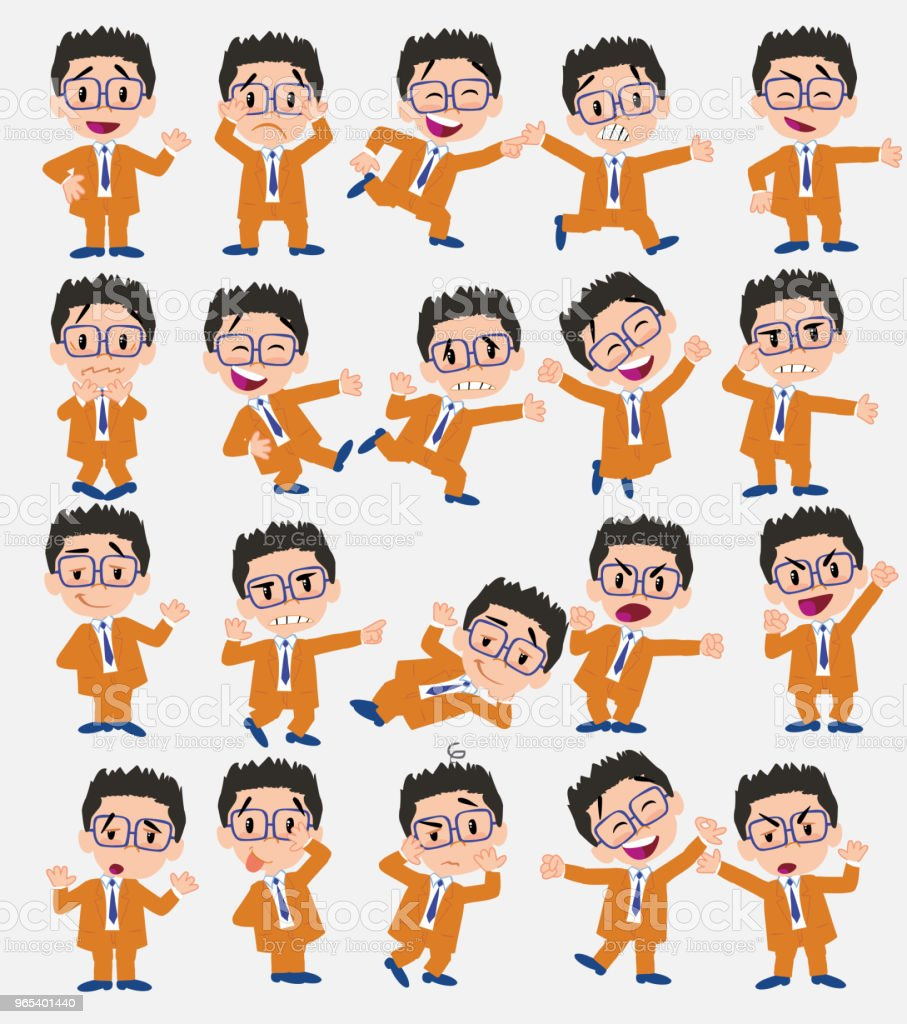 Cartoon character businessman with glasses. Set with different postures, attitudes and poses, doing different activities in isolated vector illustrations. royalty-free cartoon character businessman with glasses set with different postures attitudes and poses doing different activities in isolated vector illustrations stock illustration - download image now