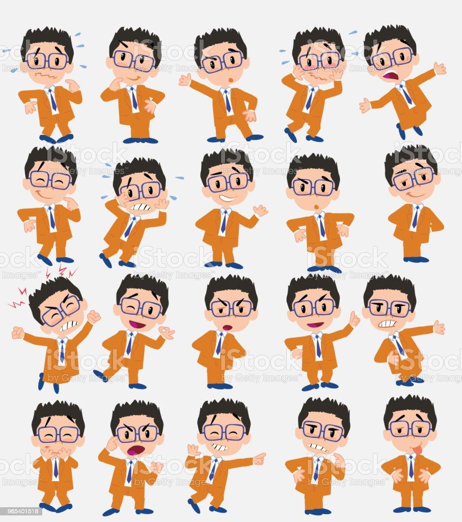 卡通人物商人與眼鏡。設置不同的姿勢、態度和姿勢, 在獨立的向量插圖中做不同的活動。 - 免版稅人圖庫向量圖形