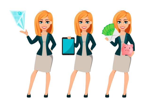 ilustrações de stock, clip art, desenhos animados e ícones de cartoon character businesswoman with blonde hair - business woman hologram
