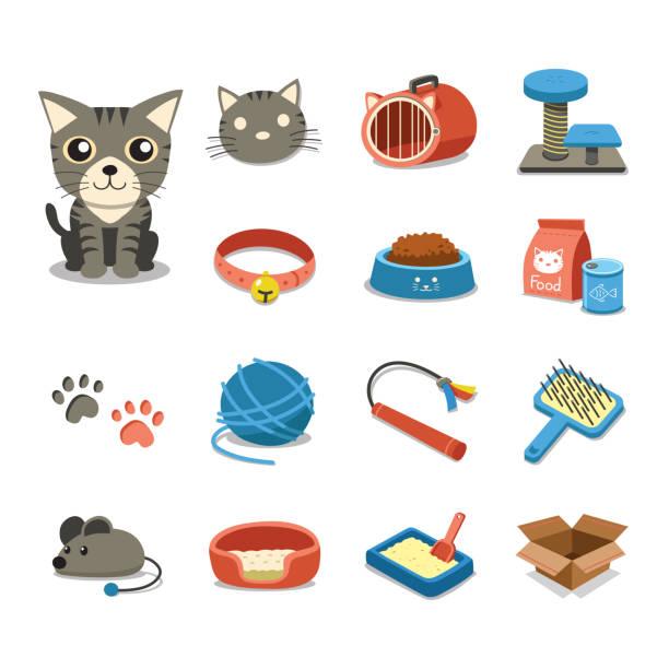 ilustrações de stock, clip art, desenhos animados e ícones de cartoon character cat and accessories set - lata comida gato