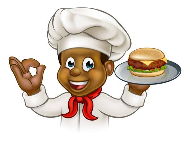 Cartoon Character Chef Holding Burger vector art illustration